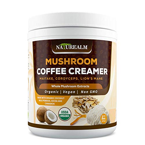 Naturealm Mushroom Coffee Creamer - Lions Mane, Cordyceps, Maitake Extracts + Coconut Milk Powder, Cocoa, Cinnamon - USDA Certified Organic, Vegan, Sugar-Free, Gluten-Free, Keto-Friendly, 8oz.