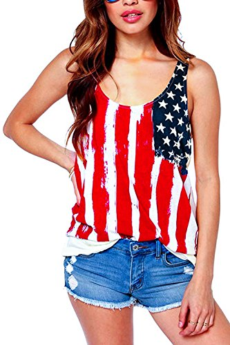 ASHERANGEL Women American Flag Print Tank Top (L, Beige and red)