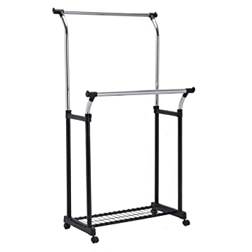 Merveilleux Tangkula Double Rail Garment Rack W/Shoe Rack Heavy Duty Height Adjustable Clothes  Rack Portable