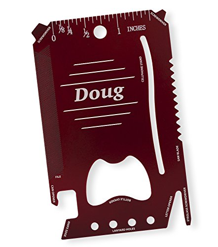 (Dimension 9 Doug - Laser Engraved, Anodized Metal Personalized Wallet Tool )