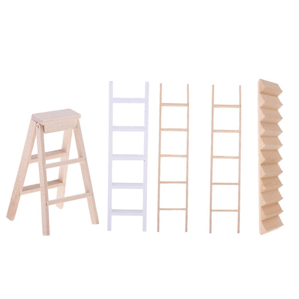 1//12 Dollhouse Miniature Furniture Wood Ladder Room Garden Decor Accessory