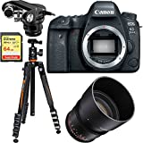 Canon EOS 6D Mark II 26.2MP Full-Frame DSLR Camera Body 1897C002 + Rokinon 85mm T1.5 Cine Lens + Tascam X-Y Plug-in Microphone for DSLR + Sandisk 64GB Extreme UHS-1 SD Card + Vanguard Travel Tripod