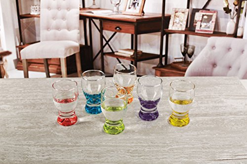 Circleware 42796 Tipsy Shot Glasses, Set of 6, 1.7 Ounce, Assorted Colored Bottoms Limited Edition Drinking Cups for Whiskey, Vodka, Brandy, Bourbon and All Types of Beverage by Circleware (Image #2)