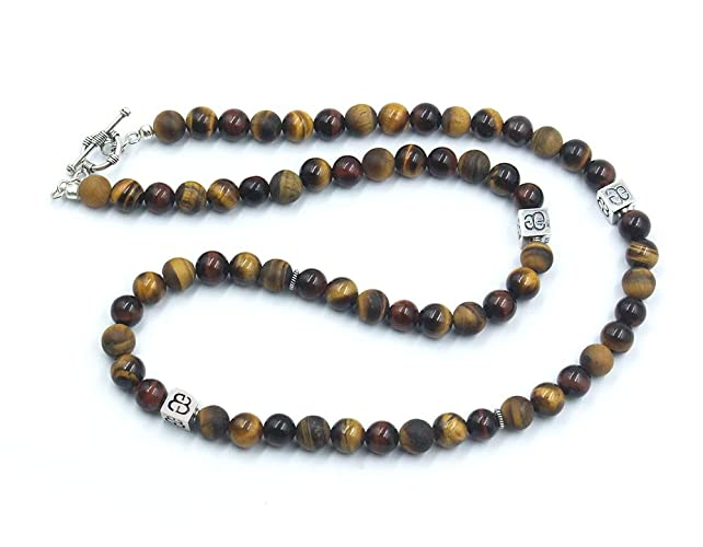 d08e2589a224b Amazon.com: Men's Necklace, Mixed Tiger's Eye and Sterling Silver ...