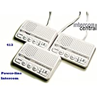 Intercom Central 413 - Three Channels HOME Power-line Intercom System, 3 Wire , White, Three Stations Set