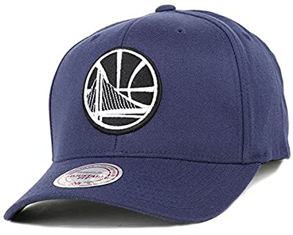 35812dc95beb68 Mitchell & Ness Golden State Warriors 110 Snapback Cap - Black and White  Logo - Navy