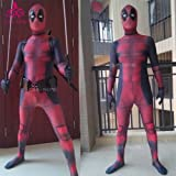 2017 Halloween Lycra Spandex Full Body Deadpool Avengers Cosplay Costume Suit (KIDS) (MEDIUM, FULL Outfit, Suit, Sword Holder and Belt)