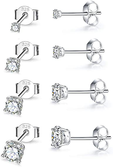 3 Pairs Tiny Ball Stud Earrings Round CZ Cubic/Zirconia Earrings Pearl Earrings Set Cartilage Small Tragus Earrings Sterling Silver Stud Earrings for Women Girls 2mm,3mm,4mm