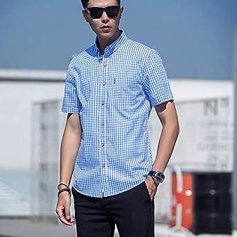 Achico camisa de cuadros para hombre, estilo casual, manga corta, cuello de solapa, verano, Hombre, color azul claro, tamaño 39: Amazon.es: Ropa y accesorios