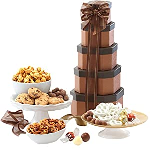 Happy Holidays Gift Tower of Sweets Gift Basket Perfect for Christmas, New Years,  Sympathy, Birthday, Housewarming, Retirement or Any Occasion