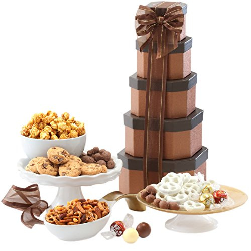 Broadway Basketeers Gift Tower of Sweets. Perfect for Sympathy, Birthday, Housewarming, Retirement or Any Occasion (Dad Birthday Gift Basket)