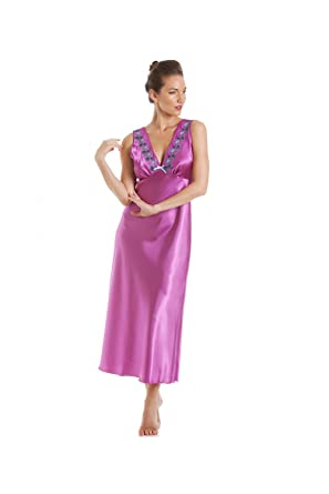 f8c08cfba7 Camille Womens Ladies Fuchsia Pink with Aqua Embroidery Satin Chemise 22 24