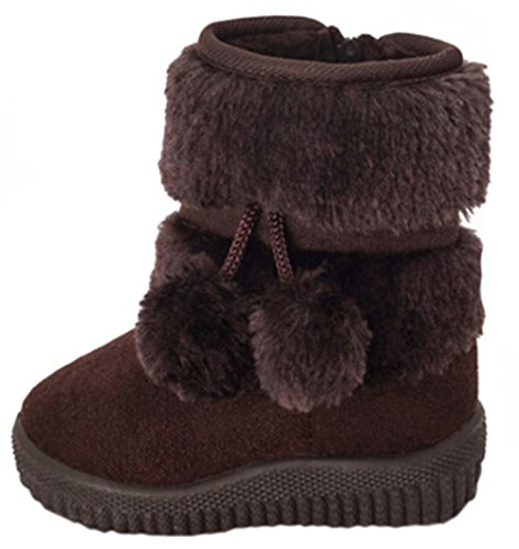 DADAWEN Baby's Girl's Cute Flat Shoes Pom Pom Winter Warm Snow Boots Coffee US Size 3.5 M Big Kid(Toddler/Little Kid/Big (Girls Faux Fur Boots)