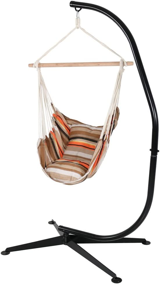 Sunnydaze Hanging Hammock Swing with Two Cushions and C-stand Combo - Beach Sunrise - 264 lbs Weight Capacity