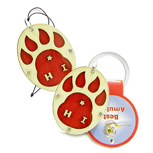 Wolf Paw Courage Protection Powers Love Couples or Best Friends Set Wooden Keychain Car Charm Blessings