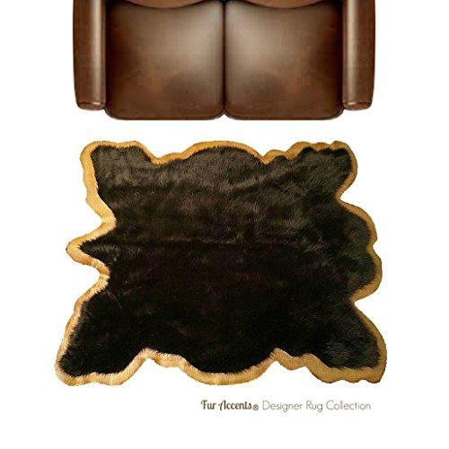 Price comparison product image Premium Faux Fur Brown Buffalo Area Rug - Hide Pelt with Tan Faux Leather Trim - Bear Skin - brown Shag - Tan Trim - Fur Accents (5'x6')
