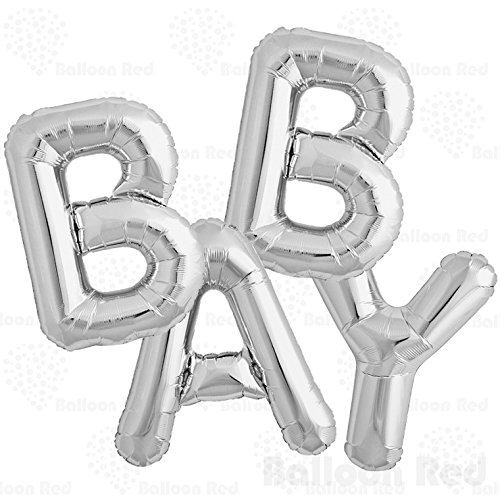 40 Inch Jumbo Helium Foil Mylar Balloons Bouquet (Premium Quality), Glossy Silver, Letters Baby -