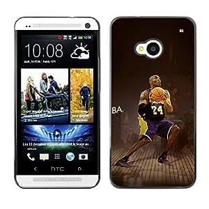 CASER CASES / HTC One M7 / Lakers 24 C Bryant Basketball / Delgado Negro Plástico caso cubierta Shell Armor Funda Case Cover