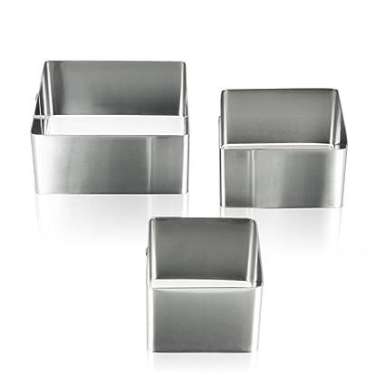 Metaltex - Juego de 3 Moldes Cuadrados para Emplatar, Acero Inoxidable
