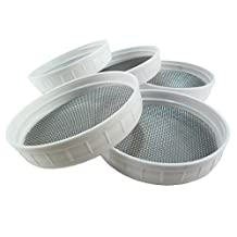 Fungaea 5-Pack Sprouting Kit Stainless Steel Mesh Screen and Food Safe Ring Combo for Sprouts - Fits Any Wide Mouth Mason Jar