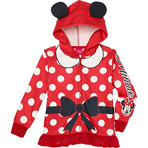 Princess Little Girls' Zip-Up Fleece Hoodie With faux fur, 5, Minnie Mouse (Cheap Minnie Mouse Ears)