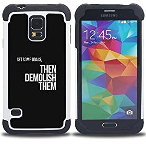 Dragon Case- Dise?¡Ào de doble capa pata de cabra Tuff Impacto Armor h??brido de goma suave de silicona cubierta d FOR Samsung Galaxy S5 I9600 G9009 G9008V- BLACK GOALS TEXT INSIGNIA MOTIVATIONS