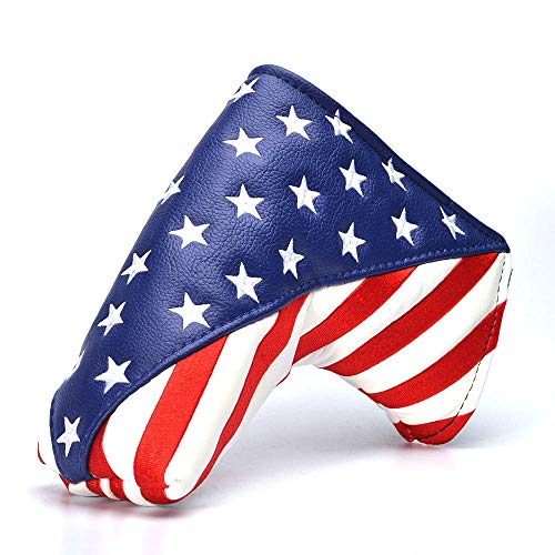COOLSKY Golf Putter Head Cover Magnetic Closure Design American Flag Pattern Synthetic Leather Blade Putter Headcover