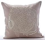 "Designer Mocha Pillow Shams, Beaded Fish Sea Creatures Ocean & Beach Theme Pillow Shams, 24""x24"" Pillow Sham, Square Cotton Linen Shams, Mediterranean Pillow Shams - Butterfly Fish"