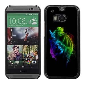 Paccase / SLIM PC / Aliminium Casa Carcasa Funda Case Cover para - Rainbow Dragon - HTC One M8