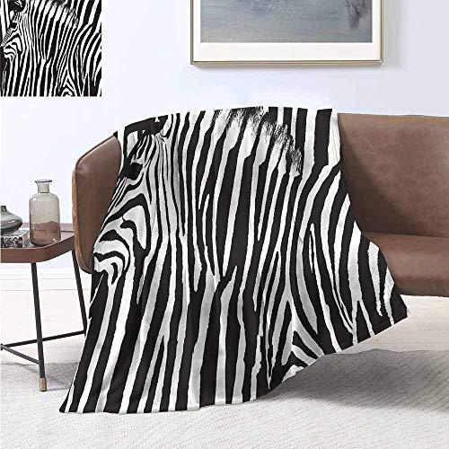 HCCJLCKS Throw Blanket Zebra Print Wild Animal Profile Lightweight E x tra Big W70 xL93 Traveling,Hiking,Camping,Full Queen,TV,Cabin