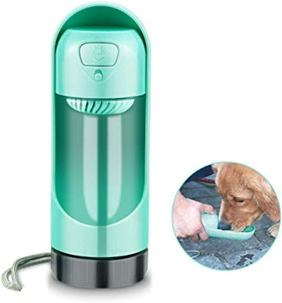 Hiking and Travel Green 10.5 oz // 300 ml. Puppy Drinking Water Cup Four Colors Dog Water Dispenser with Filter TEQ-ME Outdoor Portable Pet Water Bottle for Walking