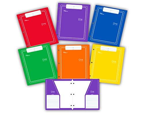 New Generation - One - 2 Pocket Folder / Portfolio Vertical Pockets , 6 PACK , Heavy Duty 3 Hole Punch - Assorted 6 Fashion colors UV Glossy Laminated folders.