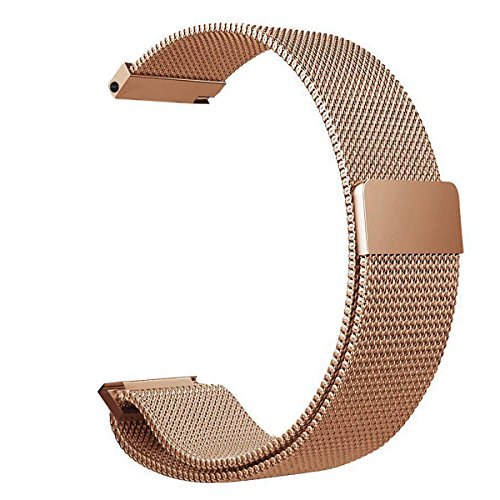 V-MORO Compatible with Galaxy Watch Rose Gold Band 42mm Women, 20mm Milanese Loop Stainless Steel Mesh Strap Bracelet with Strong Magnet Metal Replacement for Samsung Galaxy Watch 42mm SM-R810
