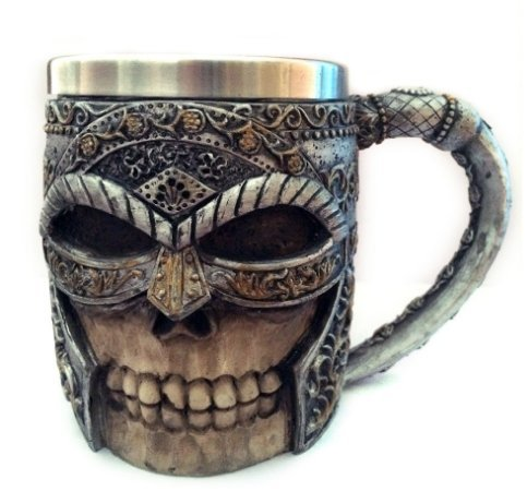 Enjoybiz 4 Designs Personalized Double Wall Stainless Steel 3D Skull Knight Tankard Mugs Dragon Drinking Cup Wolf King Mug Grim Reaper Tea Cup (Skull knight)