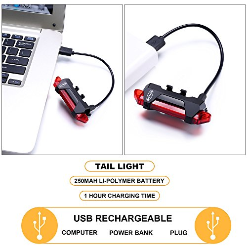 Outair USB Rechargeable Bicycle Light Front And Tail Set 5 LEDs 4 Modes Head Back Bike Flashing Safety Warning Lamp (Red&White) by Outair (Image #5)