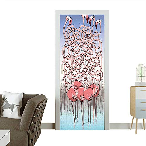Door Sticker Wall Decals Cute Flamingos Maze Game Joyful Animal Cartoon Reed Bed Water Coral Violet Blue Easy to Peel and StickW38.5 x H79 INCH
