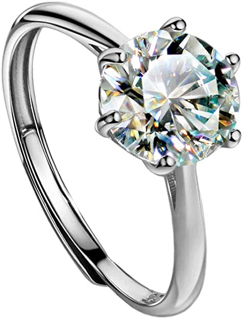 White Round Cut Moissanite Wedding Ring 2 Ct Round Cut Moissanite Engagement Ring 925 Sterling Silver Moissanite Anniversary Ring