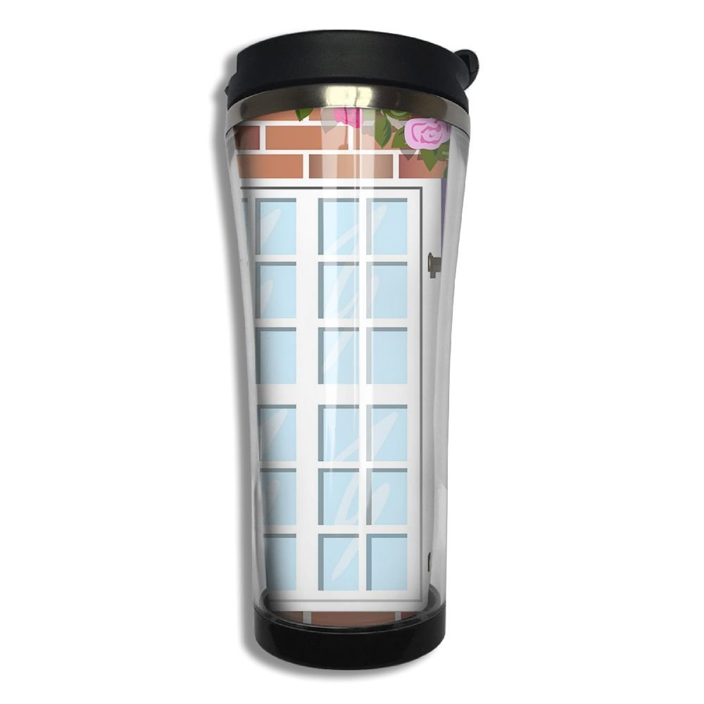 Stainless Steel Travel Mug Window On Brick Wall Coffee Cup Tumbler With Lid 14.3 Oz