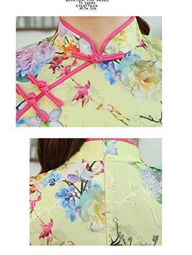 2 Robe Cheongsam Dresse Coton En Court Floral Chinoise Asiatique Pour Qipao Soirée Acvip De Femme Traditionnel Couleur nSaxwBHqRq