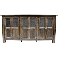 Gaines Solid Wood 6 Door Sideboard, Distressed Black
