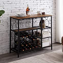 Home Bar Cabinetry Hombazaar Industrial Wine Rack Table with Glass Holder and Wine Storage, Console Table with Wine Rack, Wine Bar Cabinet… home bar cabinetry