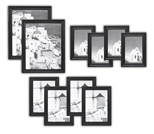 Black Collection Wood (Golden State Art, Wall Frame Collection, Set of 10, Solid Wood Photo Frame, Black)