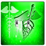 Rikki Knight 8866 Double Toggle Green Medical Doctor Symbol Design Light Switch Plate