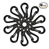 Matop 1.2 Inch Length Quick Release Keychain Black Small Spring Clip Lock Carabiner Hook for Outdoor Hiking 10 Pcs
