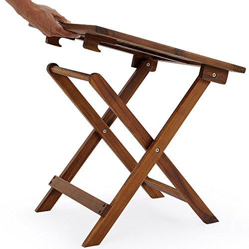 Deuba - Table basse pliante en bois d\'acacia - Tables jardin d\'appoint •  46x46cm - Acacia • Pliable • Compacte • jardin, balcon, terrasse, ...
