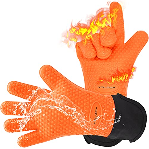YOLOOY Heat Resistant Gloves,BBQ Gloves Grilling Mitts Oven Gloves Cooking Grill Gloves Waterproof Gloves for Barbecue,Frying,Grilling,Waterproof,Fire&Oil Resistant (Orange)