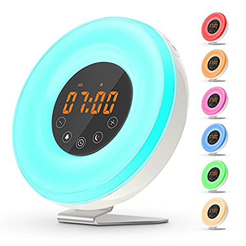 AngelaKerry Wake Up Light Sunrise Digital Alarm Clock - with 6 Natural Sounds and FM Radio, Sunrise and Sunset Simulation & 7 Auto Switch Colors LED Night Light for Bedside, Adults and - 1p Suits