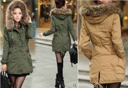 Womens Ladies Faux Fur Hood Fleece Lined Parka Style Jacket Coat ...