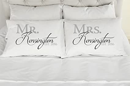 Amazon.com  Set of 2 Standard Queen Personalized Couples Pillow ... 7a041aa33