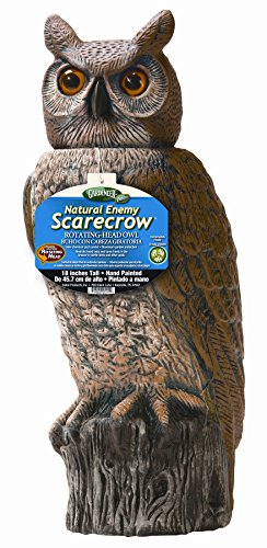 Gardeneer By Dalen RHO4 Natural Enemy Scarecrow Rotating Head Owl, Brown